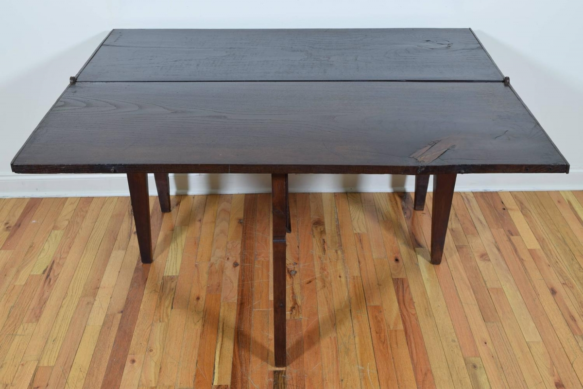 Walnut Iron Folding Console And Dining Table