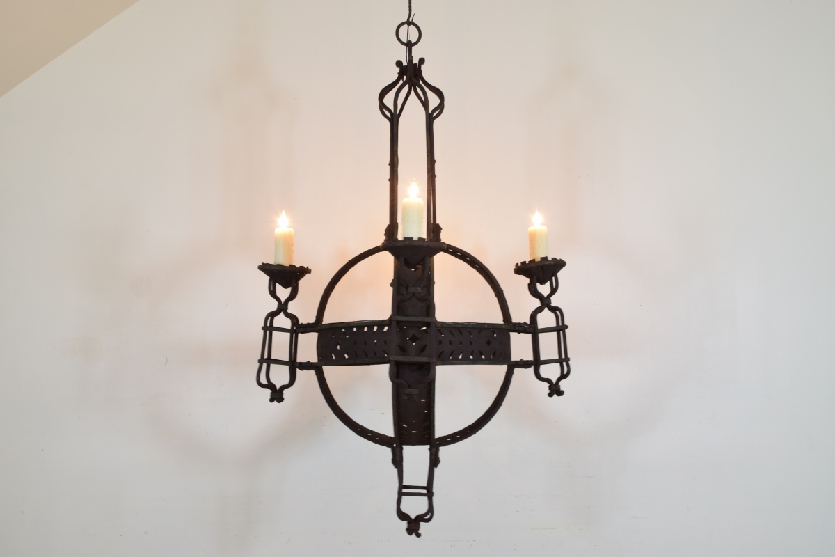 Large Wrought Iron 4 Light Orb Chandelier Ul Wired Listed